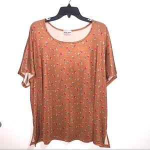 🌷5/$20 Vertical Zone Women's Tan Floral Shirt